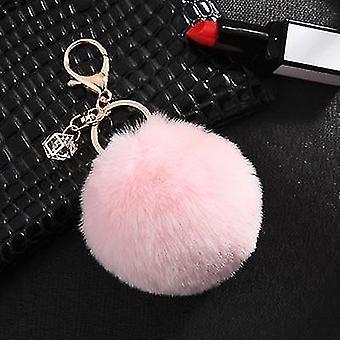 Bolyhos és lágy északi stílusú nyúl pompom csecsebecsék kulcstartók (Pink)