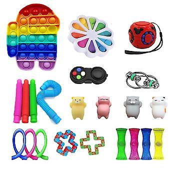 22pcs Anxietate Relief Jucării Push Pop Bubble Rainbow senzoriale Fidget jucărie