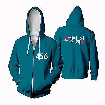 Squid Game Merch Hoodie 456 067 218 Sweatshirt  Jacket Cotton Fleece Cloth Casual Streetwear Pullovers