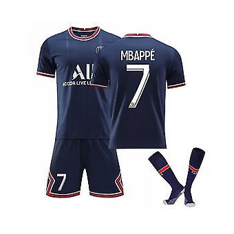 Mbappe 7 Jersey Home 2021-2022 Kausi Pariisi Jalkapallo T-paidat Jersey Set Lapsille/nuorille