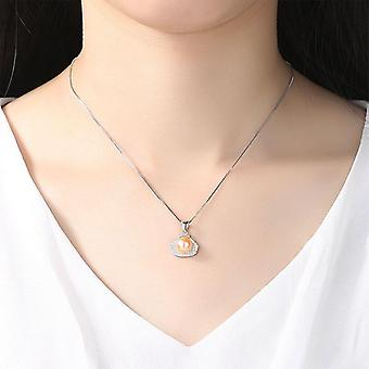 925 Silver Zircon Inlay Pearl Necklace 8 8.5MM Natural Freshwater  Gift|Necklaces
