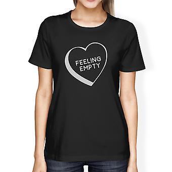 Gevoel leeg hart zwart korte mouwen T Shirt unieke cadeau idee