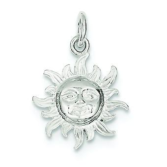 925 Sterling Silver Solid Polished Open back Sun Charm - 1.3 Grams