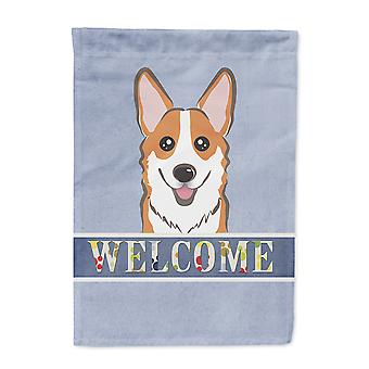 Carolines Treasures  BB1440GF Red Corgi Welcome Flag Garden Size