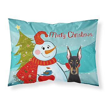 Snowman with Doberman Fabric Standard Pillowcase