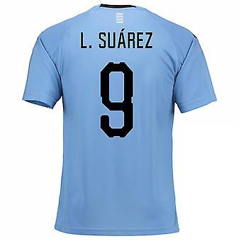 Thuis voetbalshirt van 2018-2019 Uruguay (L. Suarez 9)