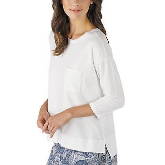Mey 16806-405 Kvinnor's Night2Day Off White Solid Colour Pyjamas 3/4 Sleeve Pyjama Top