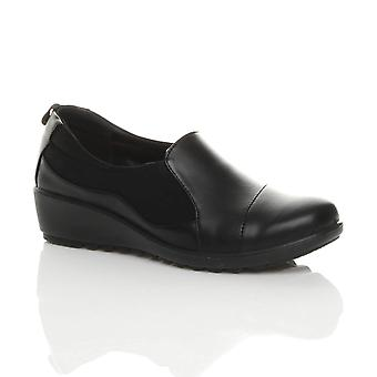 Ajvani Womens Mitte Keil Ferse Stretch Arbeit niedrig gepolstert gepolsterte smart Komfort Schuhe
