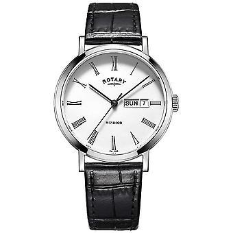 Rotary Mens Windsor Zwart Lederen Band GS05300/01 Horloge