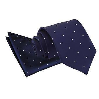 Azul marinho Pin Dot gravata & conjunto de bolso quadrado