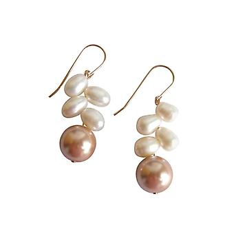 Gemshine - Damen - Ohrringe - Perlen - Champagner - Weiß - Vergoldet - 3 cm