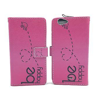 Sachet de cas de téléphone mobile de la pâte de WIKO mobile Fab 4 G être heureux rose