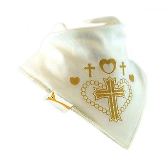 Weiße & Gold Kreuz Bandana Lätzchen