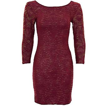 Ladies 3/4 Sleeve Crinkle Diamond Glittery Women's Low Back Bodycon Dress