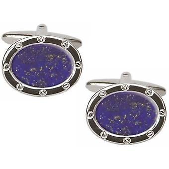 David Van Hagen lapis-lazuli boutons de manchette ovales - bleu/argent
