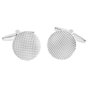 David Van Hagen skinnende strukturert Design sirkel mansjettknapper - sølv