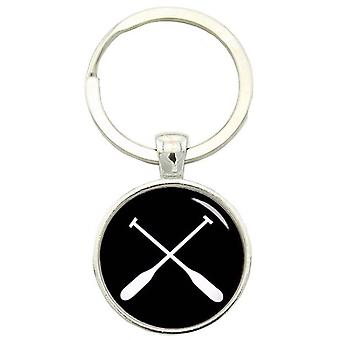 Bassin and Brown Crossed Oars Rowing Keyring - Black/White