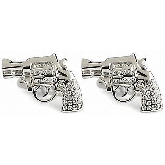 Simon Carter Crystal Pistol Cufflinks - Silver