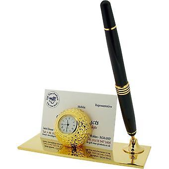 Gift van de tijd de kaarthouder van de bal van de Golf van producten en Pen klok - goud