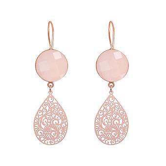 GEMSHINE brincos femininos mandalas rosa quartzo prata, banhado a ouro ou rosa