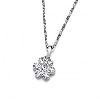 """Cavendish French Silver and Cubic Zirconia Petal Pendant with 16-18"""" Chain"""