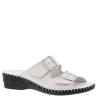 David Tate Womens Rudy Leather Open Toe Casual Slide Sandals