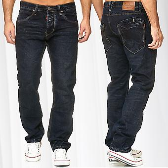Men's Jeans Pants Denim Trousers Classic Loose Fit Used Washed Regular Waist
