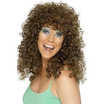 Long Brown Frizzy Wig, Boogie Babe Wig , Fancy Dress Accessory