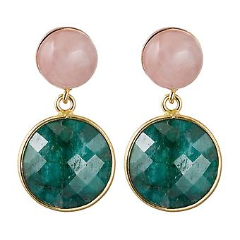 Gemshine earrings emerald seam and rose quartz gemstones 925 silver plated