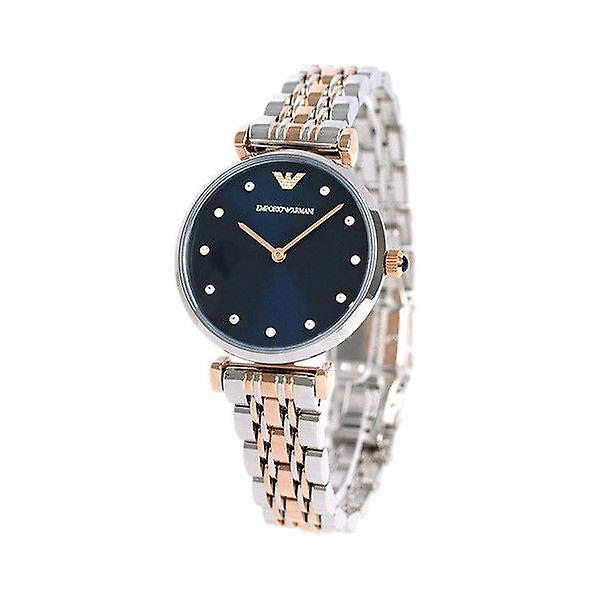 Armani watches ar11092 two tones gold & silver, blue faced ladies watch