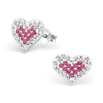القلب - 925 الجنيه الاسترليني الفضة كريستال الأذن ترصيع - W15360x