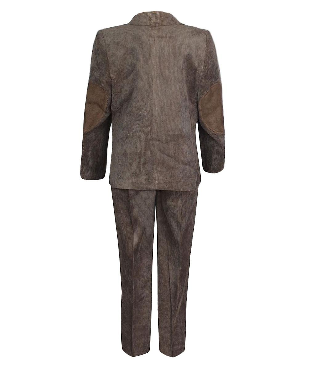 Designer Boys Brown Corduroy  4 PC Suit With Hat
