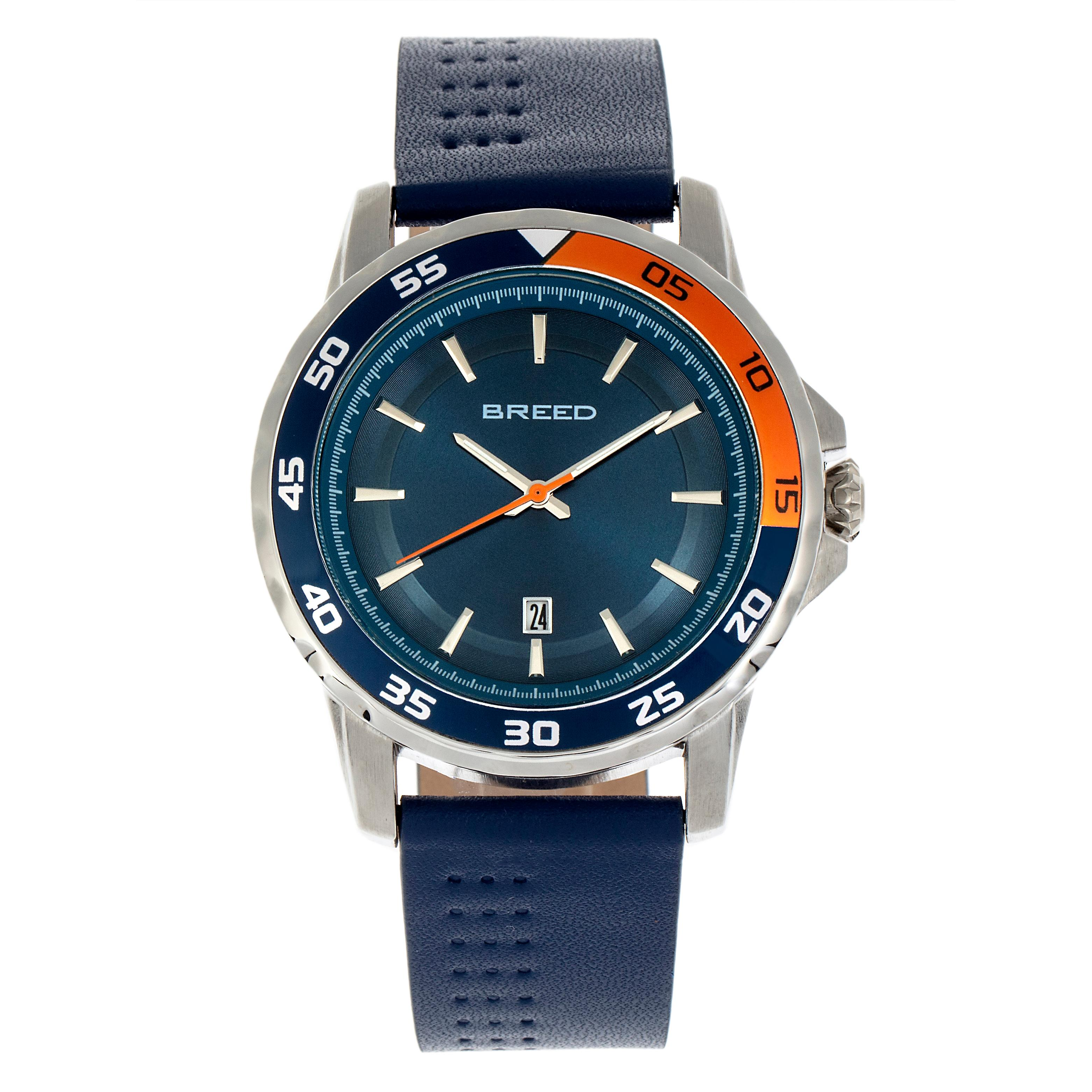 Breed Revolution Leather-Band Watch w/Date - Navy
