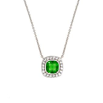 Bertha Juliet Collection Women's 18K WG Plated Green Cushion Halo Fashion Necklace