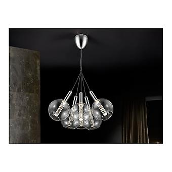 Schuller Modern Chrome Fish Bowl Cluster Pendant 6 Light