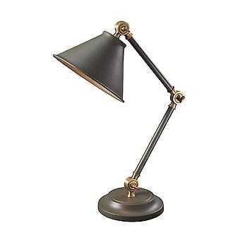 Elstead-1 licht mini tafel lamp-donker grijs/oud Brass-PV ELEMENT GAB