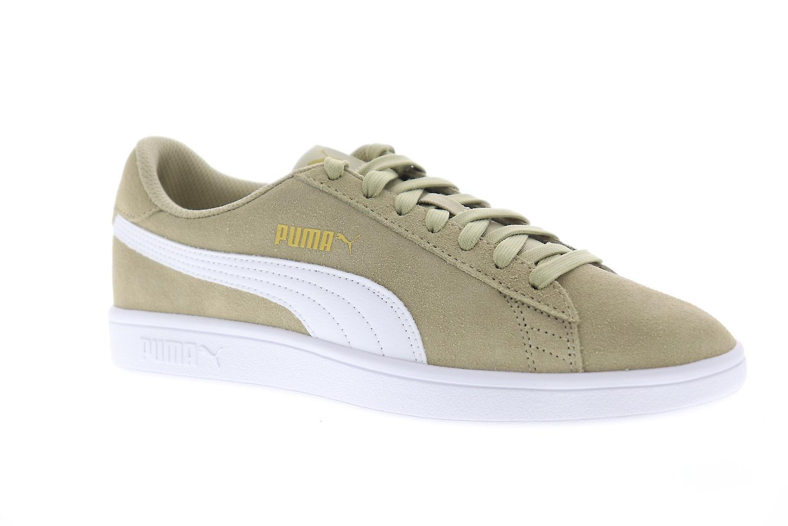 Puma Smash v2 menns grå semsket skinn klassiske blonder opp lav topp joggesko sko