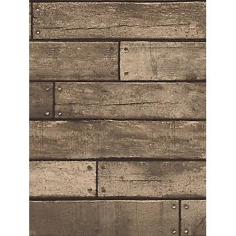 Brown Wooden Plank Effect Wallpaper Fine Decor FD31289