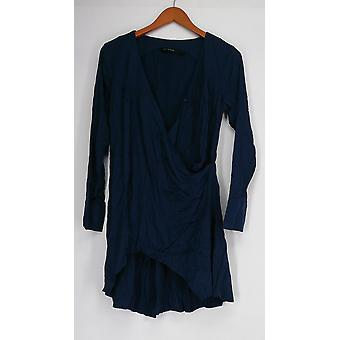 H by Halston Top Long Sleeve V-Neck Wrap Front Navy Blue NEW A278923