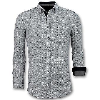 Italian shirts-Slim Fit Blouse Flower Garden-3028-White