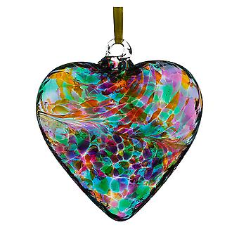 Sienna Glass 8cm Friendship Heart, Multi Turquoise