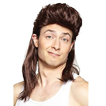 Nightclub Brown Mullet 80s Hillbilly Redneck White Trash Bogan Mens Costume Wig