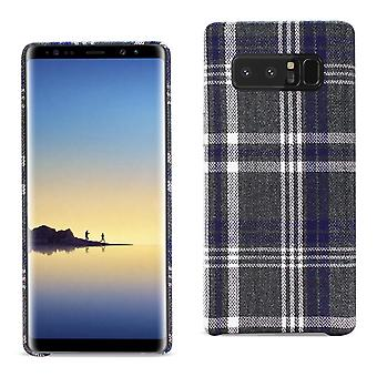 Reiko Soft Plaid Flannelette Checked Fabric Case for Samsung Galaxy Note 8-Black