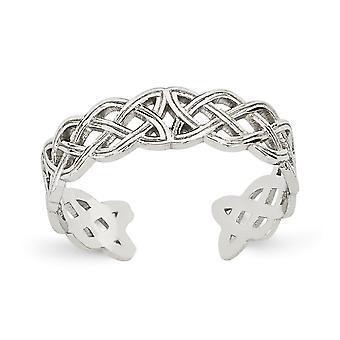 14k oro blanco pulido filigrana celta nudo del dedo del pie anillo regalos de joyería para las mujeres - 1.0 gramos