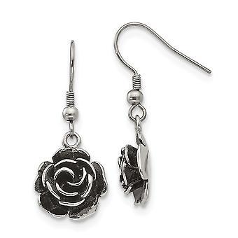 Stainless Steel Polished Shepherd Hook Flower Earrings Jewelry Gifts for Women