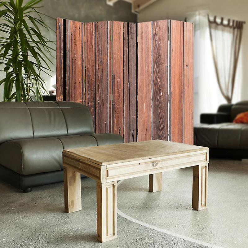 Diviseur de chambre, 5 panneaux, double-sided, 360 rotatable, toile, planches en bois