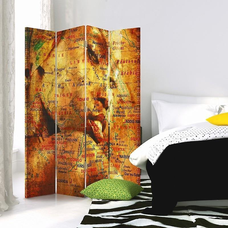 Diviseur de chambre, 4 panneaux, toile, carte mystérieuse