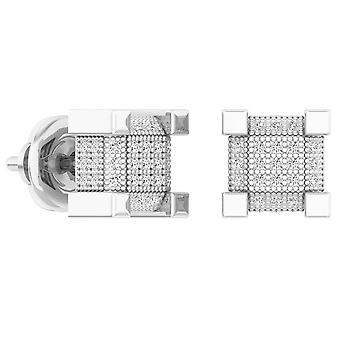 Dazzlingrock Collection 0.33 Carat (ctw) Diamond Dice Shaped Hip Hop Mens Cube Boucles d'oreilles 1/3 CT, Sterling Silver