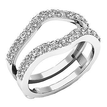 Dazzlingrock Collection 1.60 Carat (ctw) 14K Round Cut Cubic Zirconia Ladies Wedding Guard Double Ring, White Gold