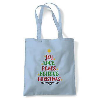 Word Art Christmas Tree, Fourre-tout - Cadeau de sac de toile d'achat réutilisable